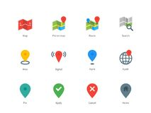 Map GPS and navigation color icons on white. Pictogram collection of GPS and navigation, point, pin, map, search direction for navigators and coordinates. Flat Royalty Free Stock Photo