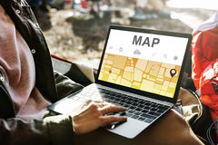 Map GPS Navigation Direction Destination Route Concept Royalty Free Stock Photography