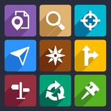 Map, GPS and Navigation Flat Icons Set 45 Stock Photos