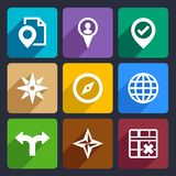 Map, GPS and Navigation Flat Icons Set 46 Royalty Free Stock Photo