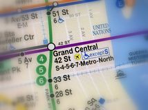 Map of Grand Central metro station. Amsterdam, Netherlands - November 22, 2018: Map of Grand Central Subway or metro station New York City selective focus stock photography