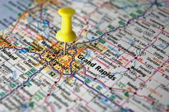 Grand Rapids, Michigan. A map of Grand Rapids, Michigan marked with a push pin Stock Images
