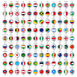 108 Map gray marker with flags. Big set Royalty Free Stock Photos