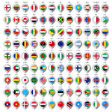 108 Map gray marker with flags. Big set. 108 Map paper gray marker with flags. Big set Royalty Free Stock Photo