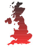 Map of Great Britain. In red lines Stock Illustration