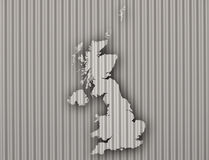 Map of Great Britain on corrugated iron Stock Image