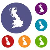 Map of Great Britain icons set Stock Photos