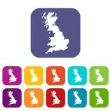 Map of Great Britain icons set Royalty Free Stock Photos