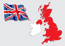 Map of Great Britain and Ireland Royalty Free Stock Photos