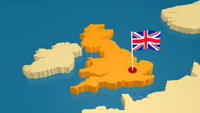 Map of Great Britain with national flag Royalty Free Stock Photography