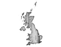 Map of Great Britain on wood, Royalty Free Stock Image