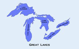 Map of the Great Lakes. Region in the United States and Canada Royalty Free Stock Photos