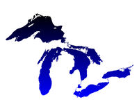 Map of Great Lakes Royalty Free Stock Images