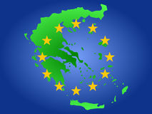 Map of Greece. And European Union flag illustration Stock Images