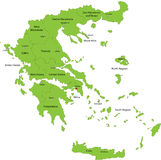Map of Greece. Greece map designed in illustration with the regions colored in green colors and with the main cities. Neighbouring countries are in an additional