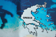 Map of Greece in blue tones with countryside Royalty Free Stock Image