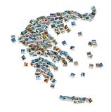 Map of Greece - collage made of travel photos. With famous greek landmarks Stock Photos