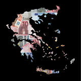 Map of Greece with euros Stock Image