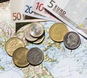 Map of Greece, euros and drachma Stock Images