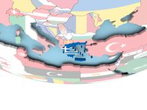 Map of Greece with flag on globe Royalty Free Stock Images