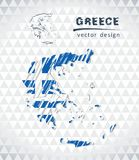 Map of Greece with hand drawn sketch map inside. Vector illustration. Vector sketch map of Greece with flag, hand drawn chalk illustration. Grunge design Vector Illustration