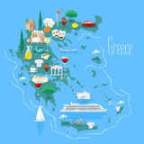 Map of Greece with islands vector illustration, design element. Icons with Greek landmarks and touristic attractions. Travel to Greece concept image Stock Illustration