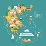 Map of Greece with islands vector illustration, design. Icons with Greek landmarks, acropolis and food. Explore Greece concept image Stock Photography