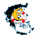 Map of Greece and lifebuoy Royalty Free Stock Photo