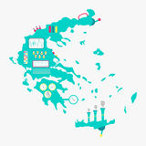 Map of Greece machine Royalty Free Stock Photography