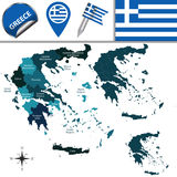 Map of Greece with named regions Stock Photo