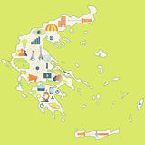 Map of Greece with technology icons Royalty Free Stock Photo