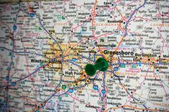 Greensboro, North Carolina. A map of Greensboro, North Carolina marked with a push pin royalty free stock photo