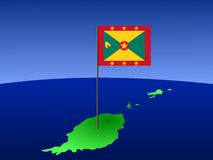 Map of Grenada with flag Royalty Free Stock Images