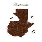 Map of Guatemala created from coffee beans isolated on a white b Royalty Free Stock Photo