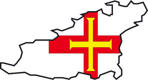 Map Guernsey. Illustration Vector of a Map and Flag from Guernsey Stock Photo