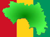 Map of Guinea. And their flag illustration Royalty Free Stock Photos