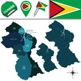 Map of Guyana with Named Regions Royalty Free Stock Photography