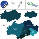 Map of Gwangju with Districts, South Korea. Vector map of Gwangju in South Korea with named districts and travel icons royalty free illustration