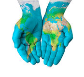 Map on hands Royalty Free Stock Photo
