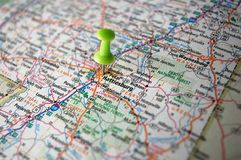 Hattiesburg, Mississippi. A map of Hattiesburg, Mississippi marked with a push pin Royalty Free Stock Photos