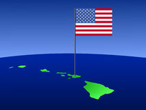 Map of Hawaii with flag Royalty Free Stock Image