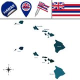 Map of Hawaii with Regions. Vector map of Hawaii with named regions and travel icons Stock Photos