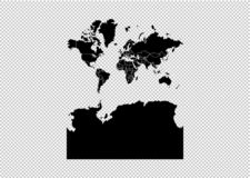 Map - High detailed Black map with counties/regions/states of world With Antarctica. world With Antarctica map isolated on. Transparent background stock illustration