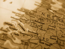 Map of Holland. A photograph of a sepia map of Holland Stock Photos