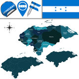 Map of Honduras with Named Departments Royalty Free Stock Image