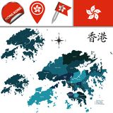 Map of Hong Kong with Districts Royalty Free Stock Images