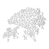 Map of Hong Kong from polygonal black lines, dots of  illustration Stock Images