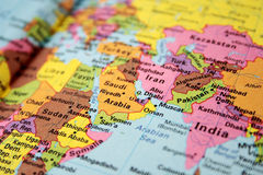 Map of hot spot middle east stock image