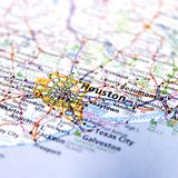 Map of Houston city. Closeup of a map of Houston city in Texas, U.S.A Stock Photos