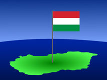 Map of Hungary with flag Stock Image